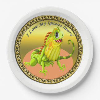 Adorable Gold green happy nature iguana lizard Paper Plate