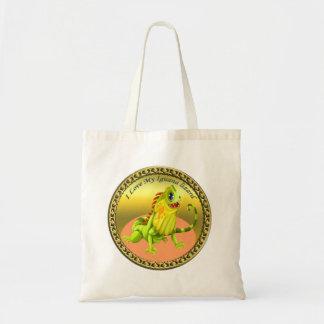 Adorable Gold green happy nature iguana lizard Tote Bag