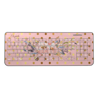 Adorable  Gold Polka Dots Floweres-Personalized Wireless Keyboard