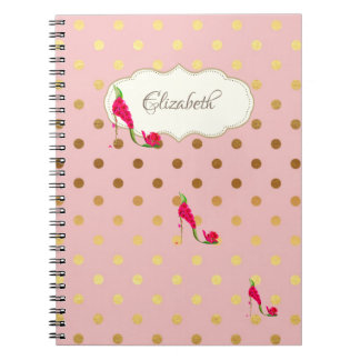 Adorable Gold Polka Dots,High HeelsPersonalized Notebooks