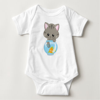 Adorable Gray Tabby Kitten with Fish Bowl Baby Bodysuit