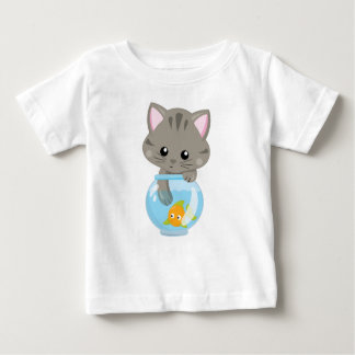 Adorable Gray Tabby Kitten with Fish Bowl Baby T-Shirt