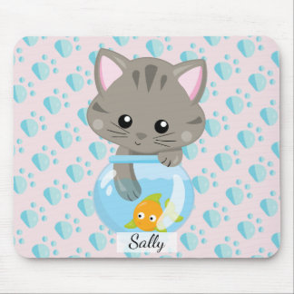 Adorable Gray Tabby Kitten with Fish Bowl Mouse Pad