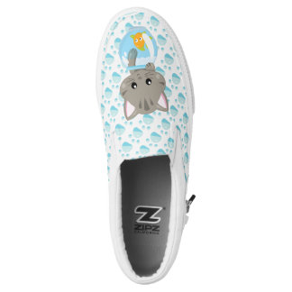Adorable Gray Tabby Kitten with Fish Bowl Slip-On Shoes