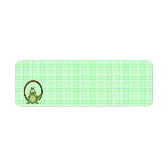 Adorable Green Dragon on Green Plaid Baby Shower Return Address Label