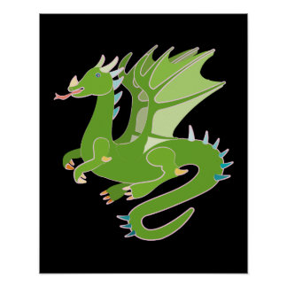 Adorable Green Dragon Poster