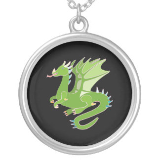 Adorable Green Dragon Silver Plated Necklace