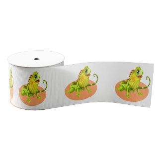 Adorable green happy nature iguana lizard grosgrain ribbon