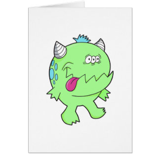 adorable green tongue chomper monster card