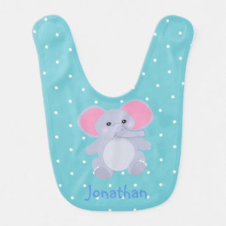 Adorable Grey Elephant Robin Egg Blue for Boy Bib