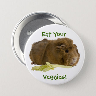Adorable Guinea Pig Eating Celery Photography 7.5 Cm Round Badge