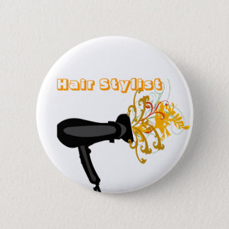 Adorable Hair Dryer  Flowers Bloosoms 6 Cm Round Badge