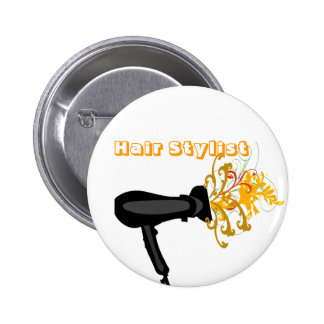 Adorable Hair Dryer with  Flowers 6 Cm Round Badge