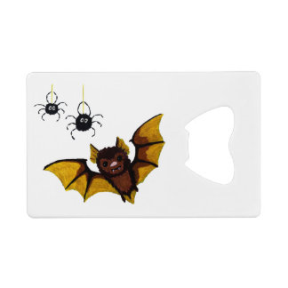 Adorable Halloween Brown Bat with 2 Fluffy Spiders