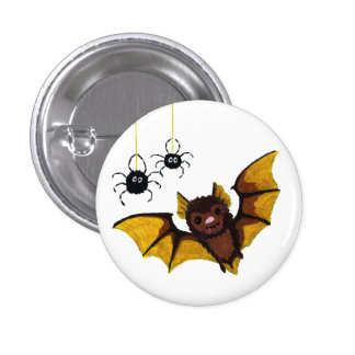 Adorable Halloween Brown Bat with 2 Fluffy Spiders 3 Cm Round Badge