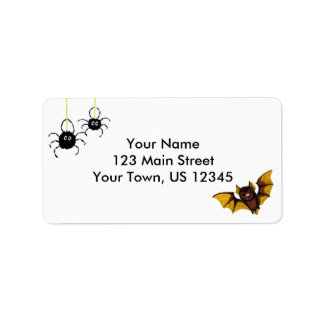 Adorable Halloween Brown Bat with 2 Fluffy Spiders Address Label