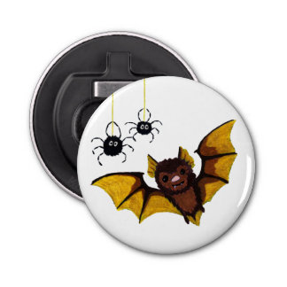 Adorable Halloween Brown Bat with 2 Fluffy Spiders Bottle Opener