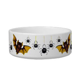 Adorable Halloween Brown Bat with 2 Fluffy Spiders Bowl
