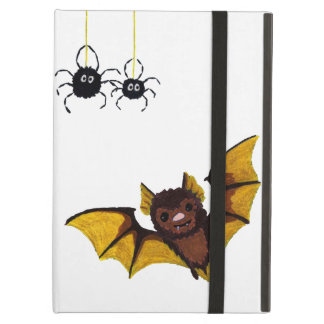 Adorable Halloween Brown Bat with 2 Fluffy Spiders Cover For iPad Air
