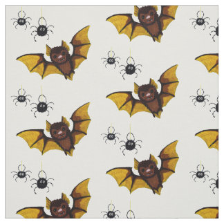 Adorable Halloween Brown Bat with 2 Fluffy Spiders Fabric