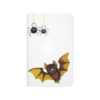 Adorable Halloween Brown Bat with 2 Fluffy Spiders Journal