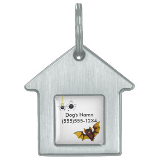 Adorable Halloween Brown Bat with 2 Fluffy Spiders Pet ID Tag