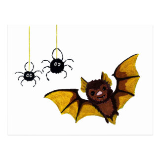 Adorable Halloween Brown Bat with 2 Fluffy Spiders Postcard
