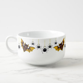 Adorable Halloween Brown Bat with 2 Fluffy Spiders Soup Mug