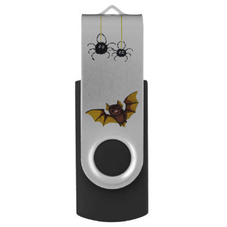 Adorable Halloween Brown Bat with 2 Fluffy Spiders Swivel USB 2.0 Flash Drive