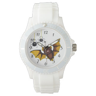 Adorable Halloween Brown Bat with 2 Fluffy Spiders Watches