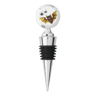 Adorable Halloween Brown Bat with 2 Fluffy Spiders Wine Stopper