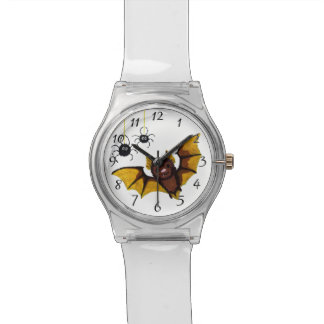 Adorable Halloween Brown Bat with 2 Fluffy Spiders Wristwatches