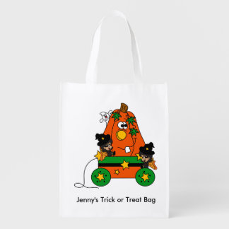 Adorable Halloween Fairy Witches and Pumpkin Cart Reusable Grocery Bag