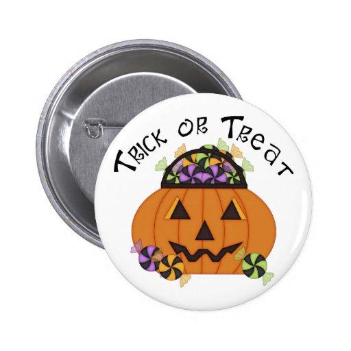 Adorable Halloween Trick or Treat Pumpkins Pinback Buttons