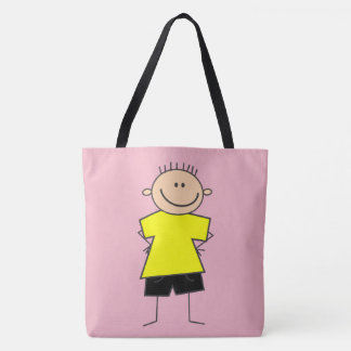 Adorable Happy Boy Stick Figure Tote Bag