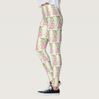 Adorable Happy Girl Stick Figure All Over Pattern Leggings