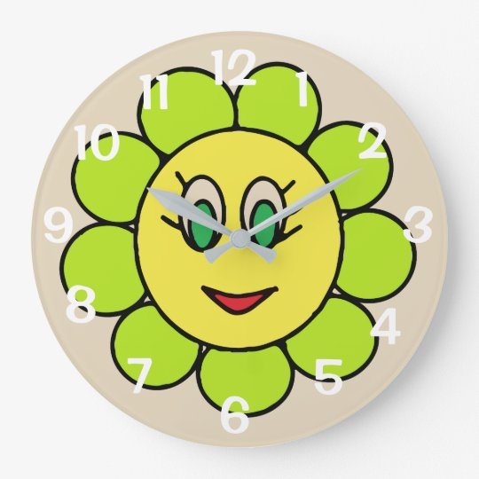 Adorable Happy Smiley Cartoon Flower Design Large Clock
