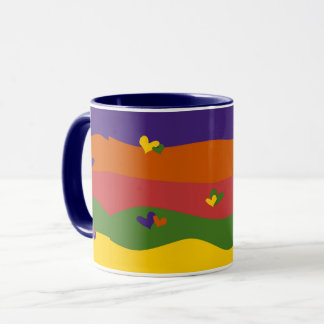 Adorable Hearts and Stripes Design Coffee Mug