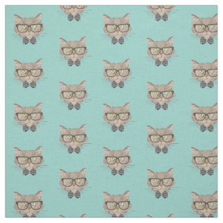 Adorable Hipster Cat Fabric