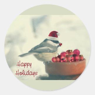 Adorable Holiday Chickadee Classic Round Sticker
