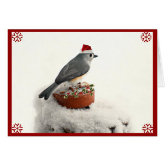 Adorable Holiday Tufted Titmouse Card