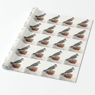 Adorable Holiday Tufted Titmouse Wrapping Paper