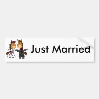 Adorable Horse Bride and Groom Wedding Bumper Sticker