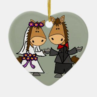 Adorable Horse Bride and Groom Wedding Ceramic Heart Decoration