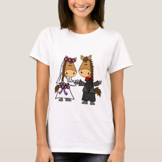 Adorable Horse Bride and Groom Wedding T-Shirt