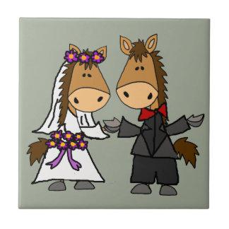 Adorable Horse Bride and Groom Wedding Tile