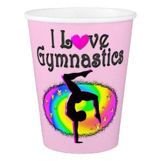 ADORABLE I LOVE GYMNASTICS PAPER CUPS
