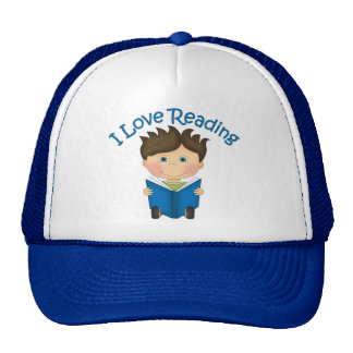Adorable I LOVE READING Little Boy Reading Tees Mesh Hats