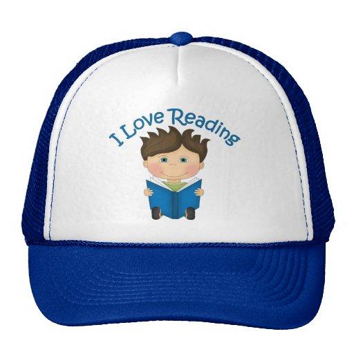 Adorable I LOVE READING Little Boy Reading Tees Mesh Hats