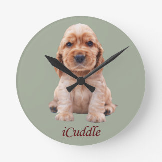 Adorable iCuddle Cocker Spaniel Round Clock